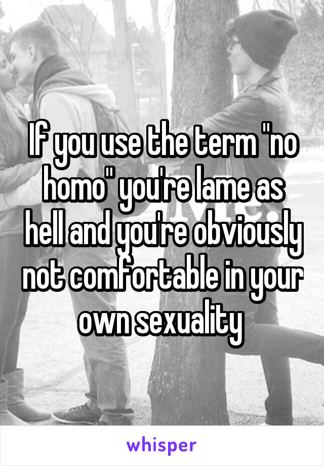 """If you use the term """"no homo"""" you're lame as hell and you're obviously not comfortable in your own sexuality"""