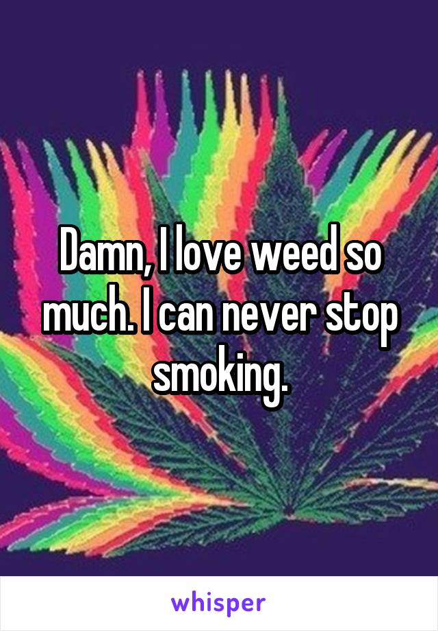 Damn, I love weed so much. I can never stop smoking.