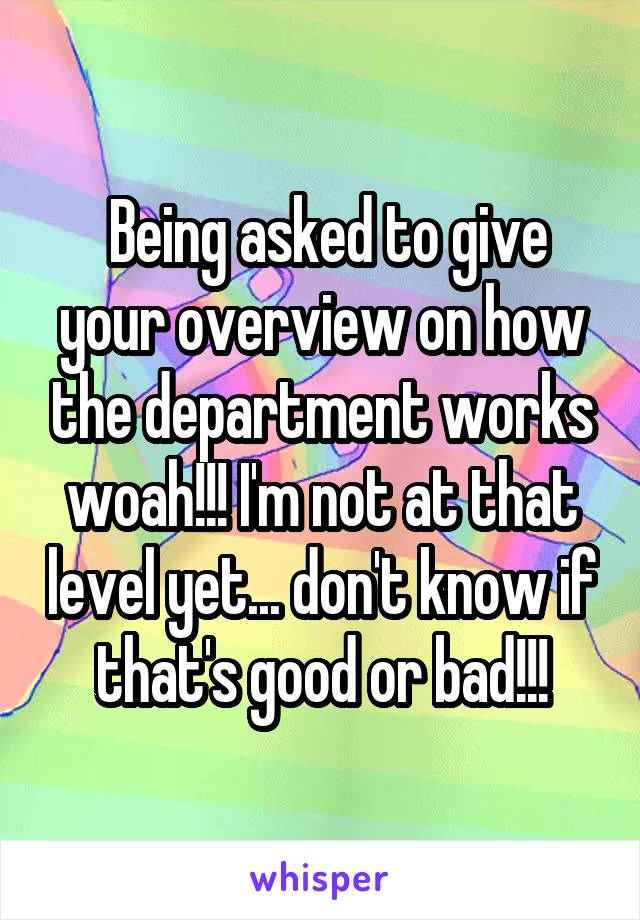 Being asked to give your overview on how the department works woah!!! I'm not at that level yet... don't know if that's good or bad!!!