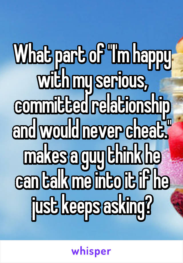 """What part of """"I'm happy with my serious, committed relationship and would never cheat."""" makes a guy think he can talk me into it if he just keeps asking?"""