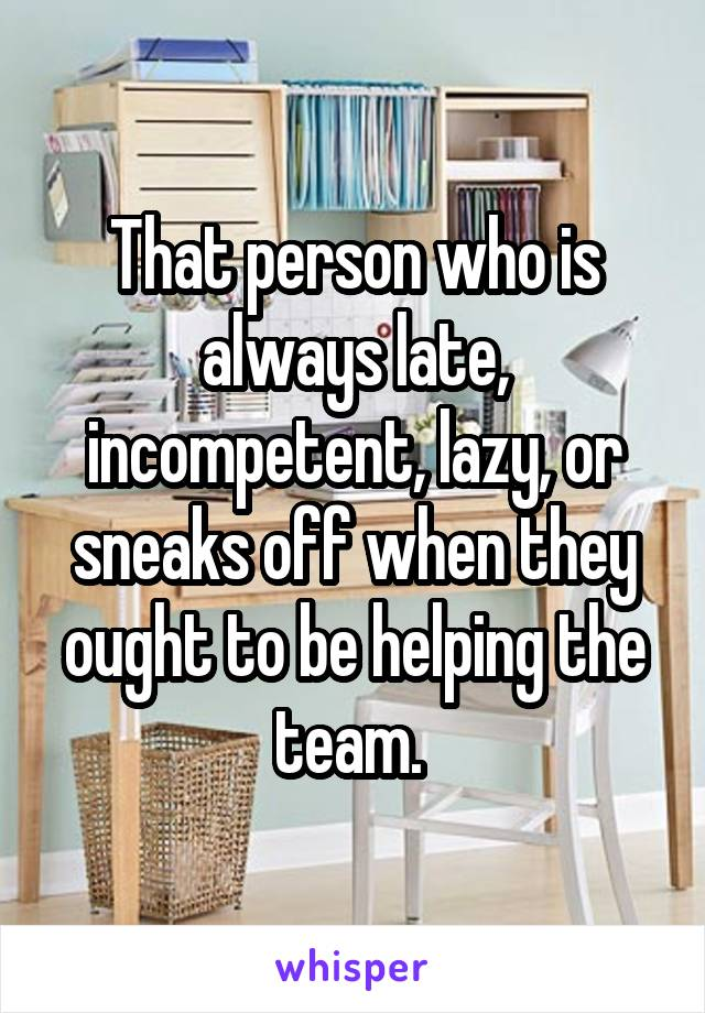 That person who is always late, incompetent, lazy, or sneaks off when they ought to be helping the team.