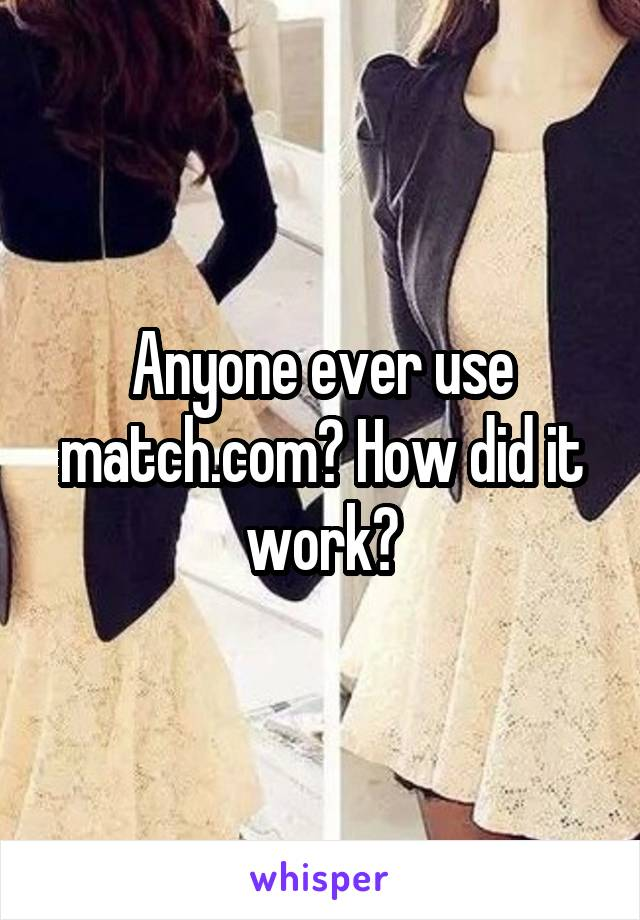 Anyone ever use match.com? How did it work?