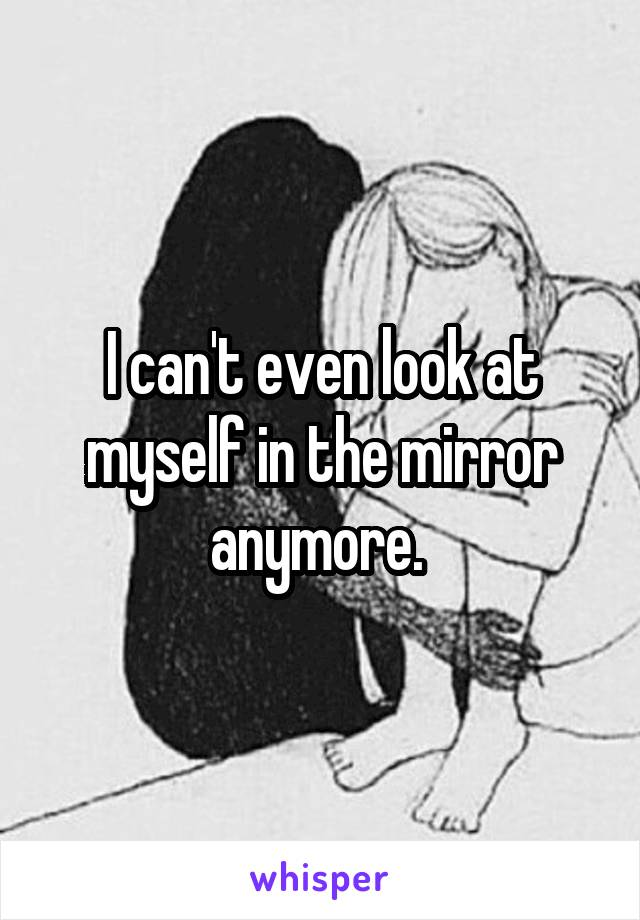 I can't even look at myself in the mirror anymore.