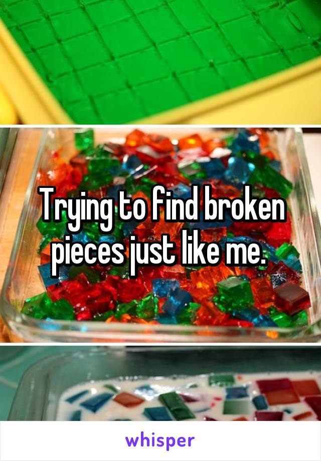 Trying to find broken pieces just like me.