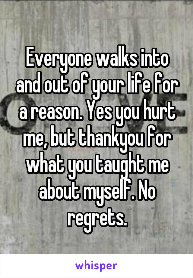 Everyone walks into and out of your life for a reason. Yes you hurt me, but thankyou for what you taught me about myself. No regrets.