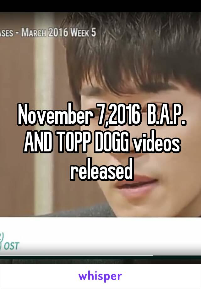 November 7,2016  B.A.P. AND TOPP DOGG videos released