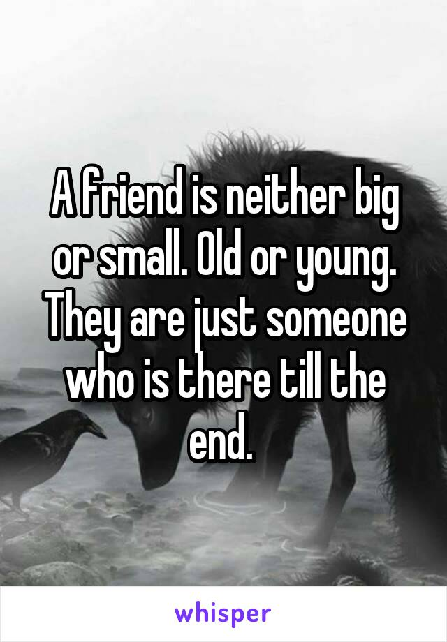 A friend is neither big or small. Old or young. They are just someone who is there till the end.