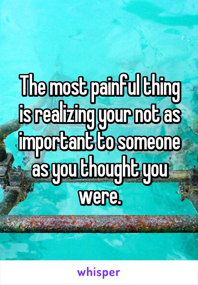 The most painful thing is realizing your not as important to someone as you thought you were.