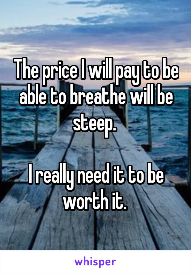 The price I will pay to be able to breathe will be steep.   I really need it to be worth it.