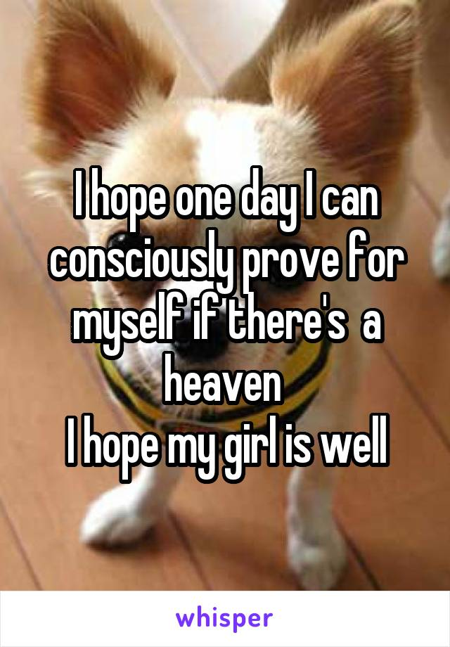 I hope one day I can consciously prove for myself if there's  a heaven  I hope my girl is well
