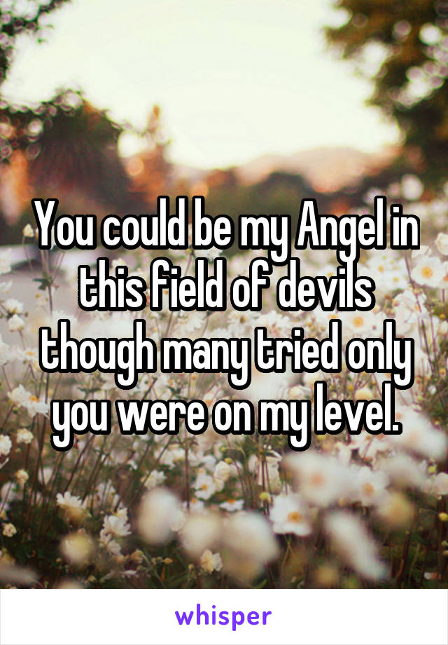 You could be my Angel in this field of devils though many tried only you were on my level.