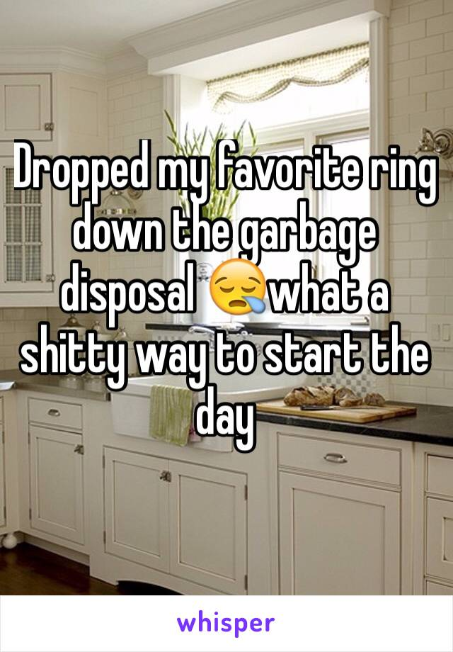 Dropped my favorite ring down the garbage disposal 😪what a shitty way to start the day