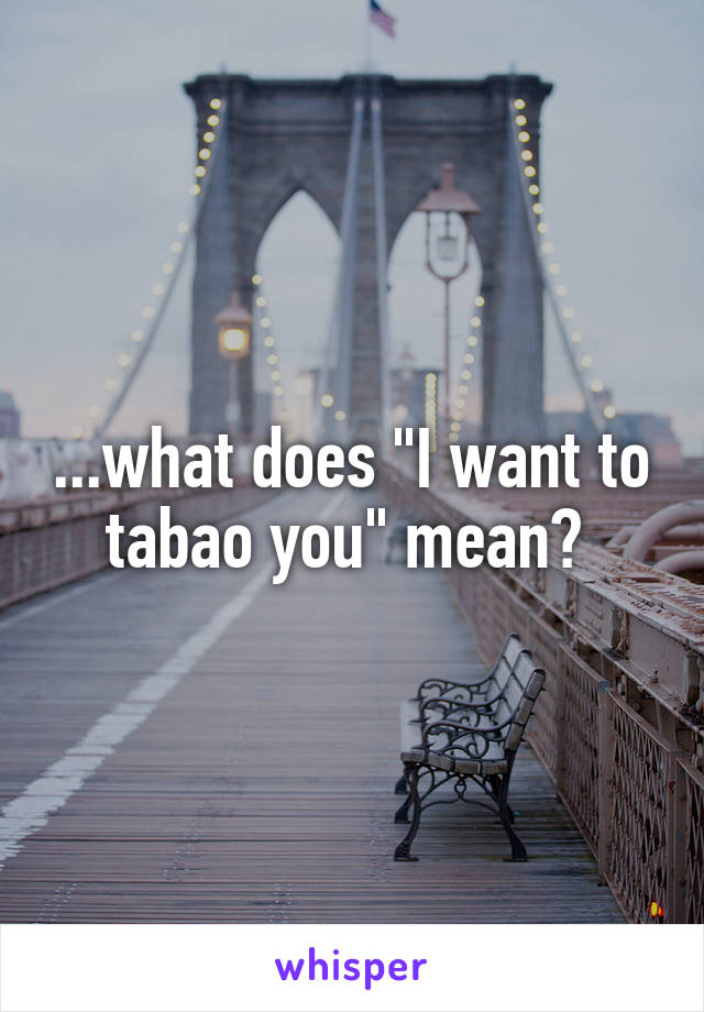 """...what does """"I want to tabao you"""" mean?"""
