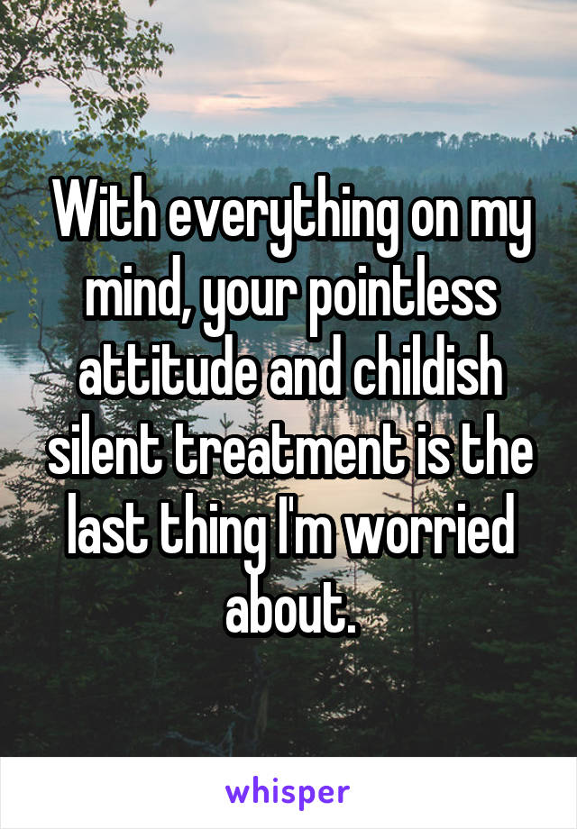 With everything on my mind, your pointless attitude and childish silent treatment is the last thing I'm worried about.