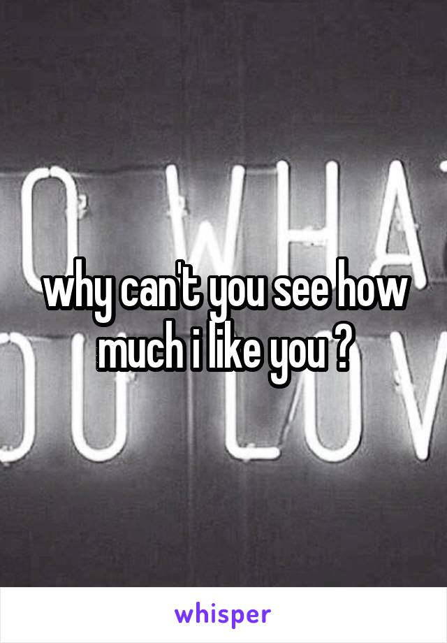 why can't you see how much i like you ?