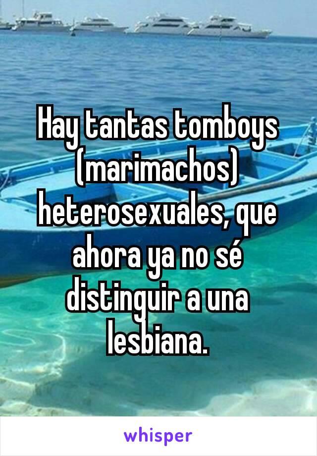 Hay tantas tomboys (marimachos) heterosexuales, que ahora ya no sé distinguir a una lesbiana.