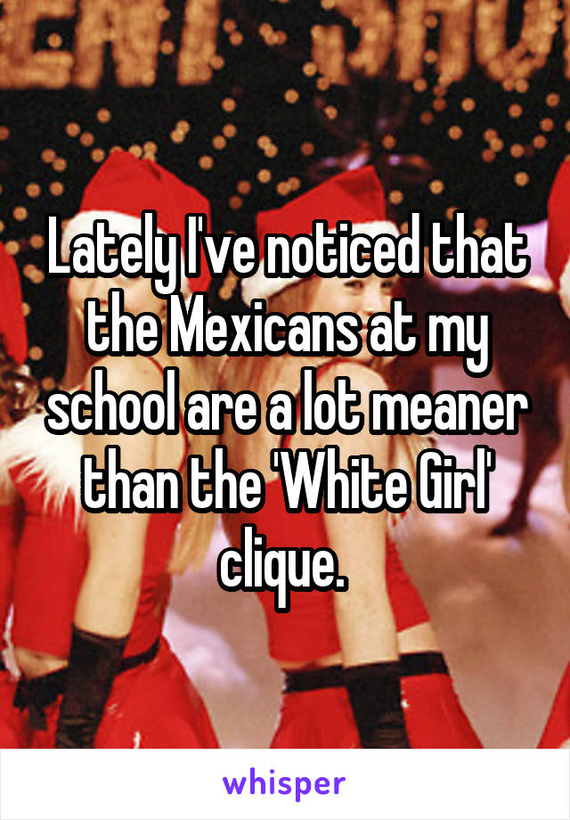 Lately I've noticed that the Mexicans at my school are a lot meaner than the 'White Girl' clique.