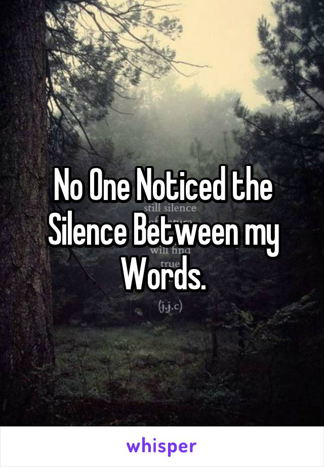No One Noticed the Silence Between my Words.