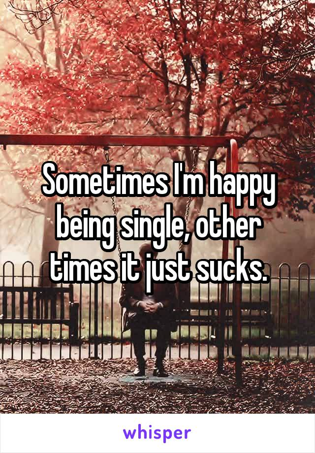 Sometimes I'm happy being single, other times it just sucks.