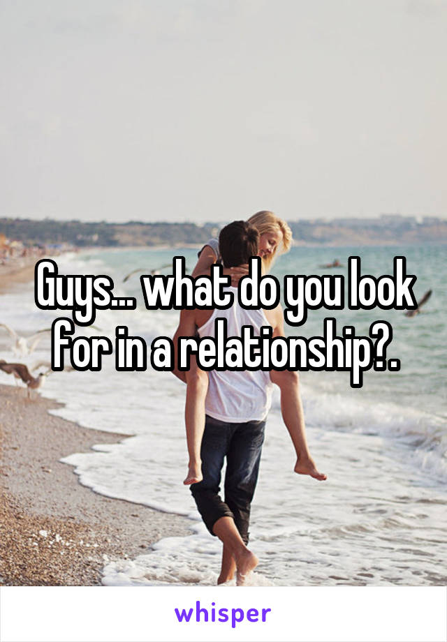 Guys... what do you look for in a relationship?.