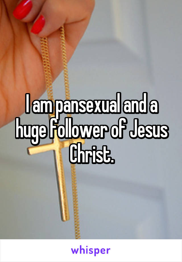 I am pansexual and a huge follower of Jesus Christ.