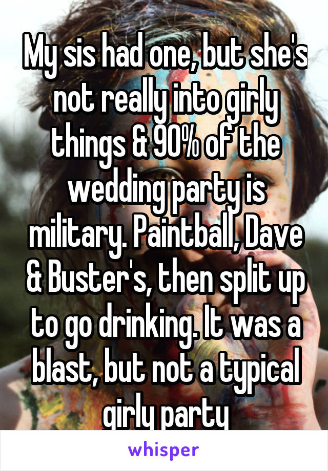 My sis had one, but she's not really into girly things & 90% of the wedding party is military. Paintball, Dave & Buster's, then split up to go drinking. It was a blast, but not a typical girly party