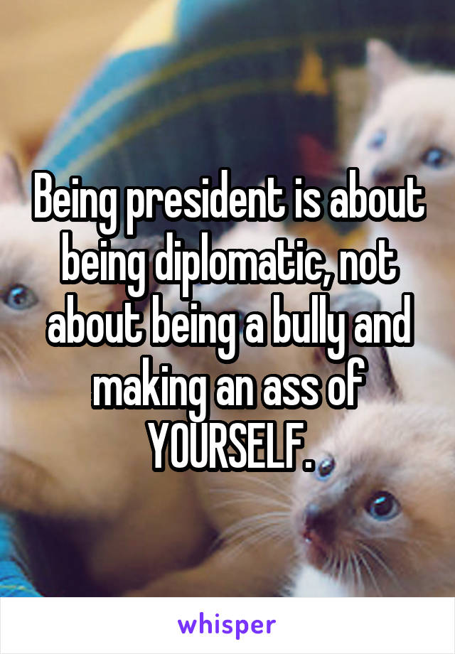 Being president is about being diplomatic, not about being a bully and making an ass of YOURSELF.