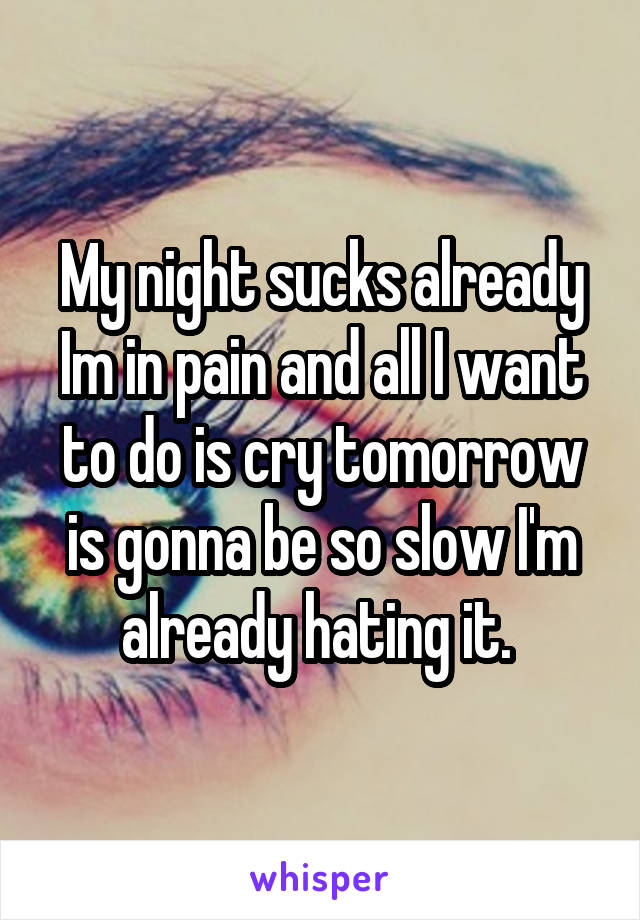 My night sucks already Im in pain and all I want to do is cry tomorrow is gonna be so slow I'm already hating it.
