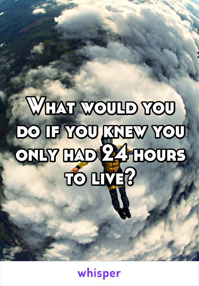 What would you do if you knew you only had 24 hours to live?