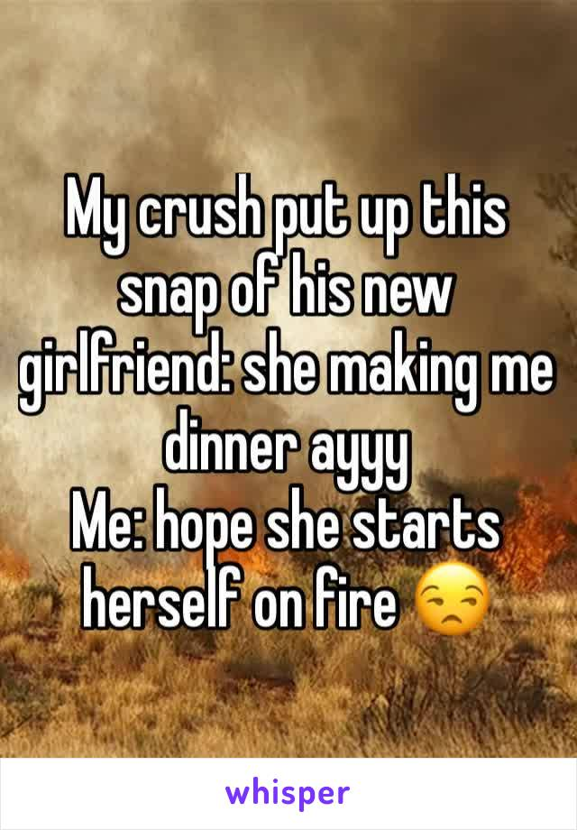My crush put up this snap of his new girlfriend: she making me dinner ayyy Me: hope she starts herself on fire 😒