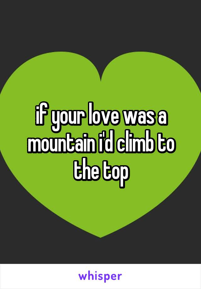 if your love was a mountain i'd climb to the top