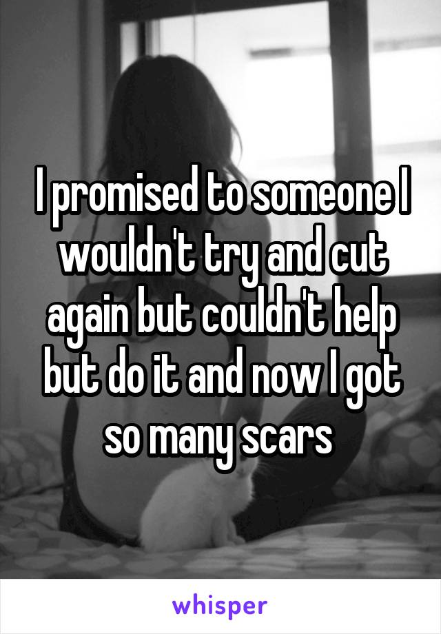 I promised to someone I wouldn't try and cut again but couldn't help but do it and now I got so many scars