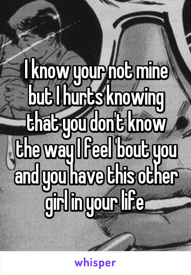 I know your not mine but I hurts knowing that you don't know the way I feel 'bout you and you have this other girl in your life