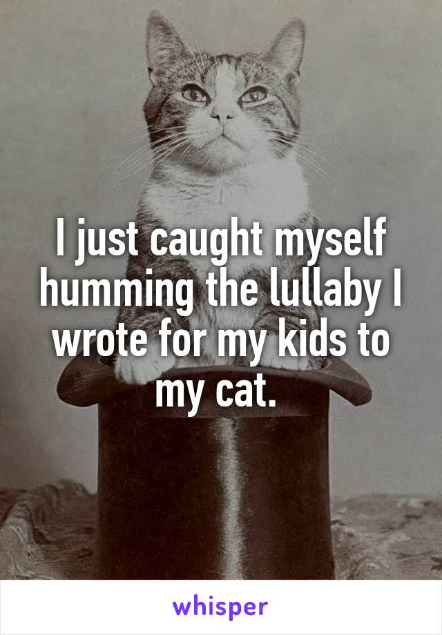 I just caught myself humming the lullaby I wrote for my kids to my cat.