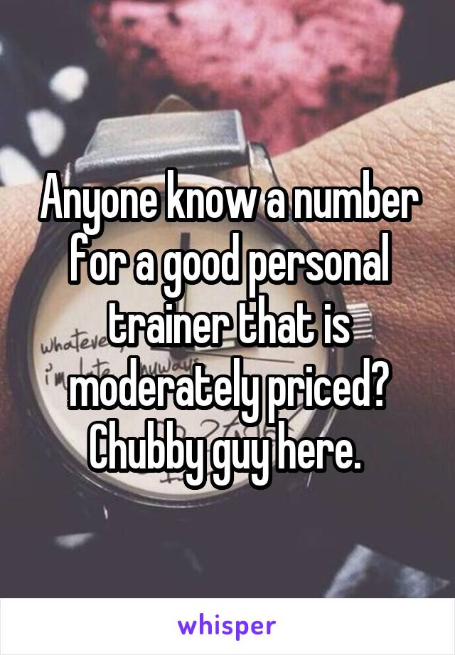 Anyone know a number for a good personal trainer that is moderately priced? Chubby guy here.