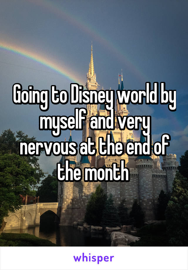 Going to Disney world by myself and very nervous at the end of the month