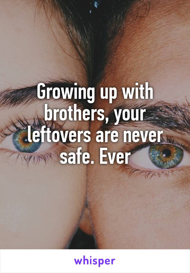 Growing up with brothers, your leftovers are never safe. Ever