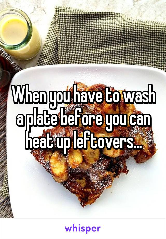 When you have to wash a plate before you can heat up leftovers...