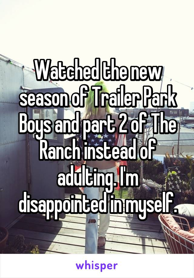 Watched the new season of Trailer Park Boys and part 2 of The Ranch instead of adulting. I'm disappointed in myself.