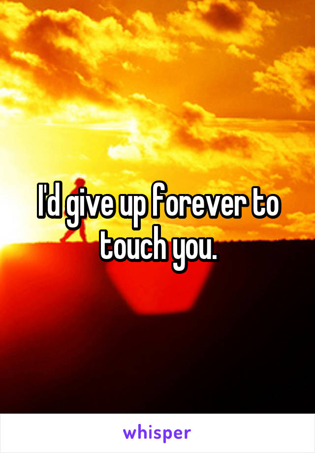 I'd give up forever to touch you.