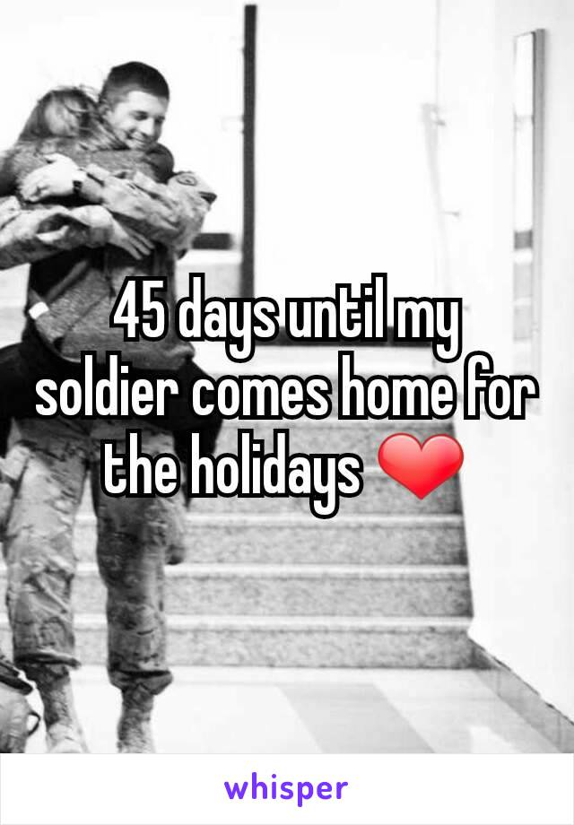45 days until my soldier comes home for the holidays ❤