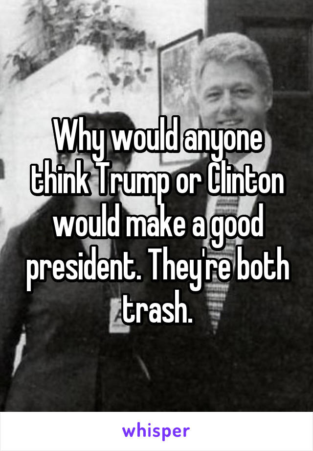 Why would anyone think Trump or Clinton would make a good president. They're both trash.