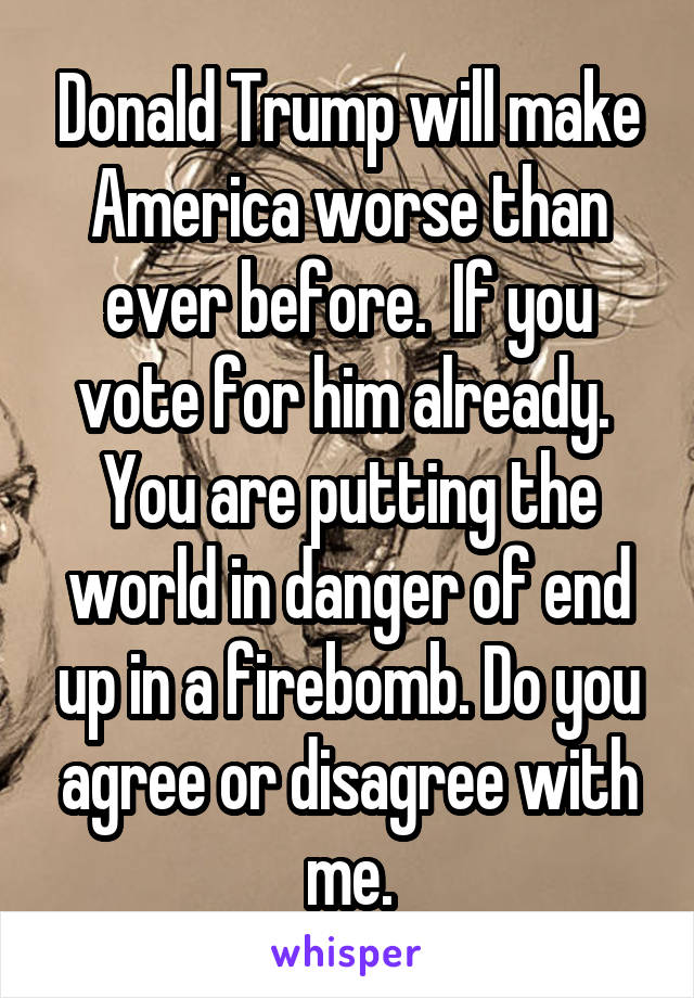 Donald Trump will make America worse than ever before.  If you vote for him already.  You are putting the world in danger of end up in a firebomb. Do you agree or disagree with me.