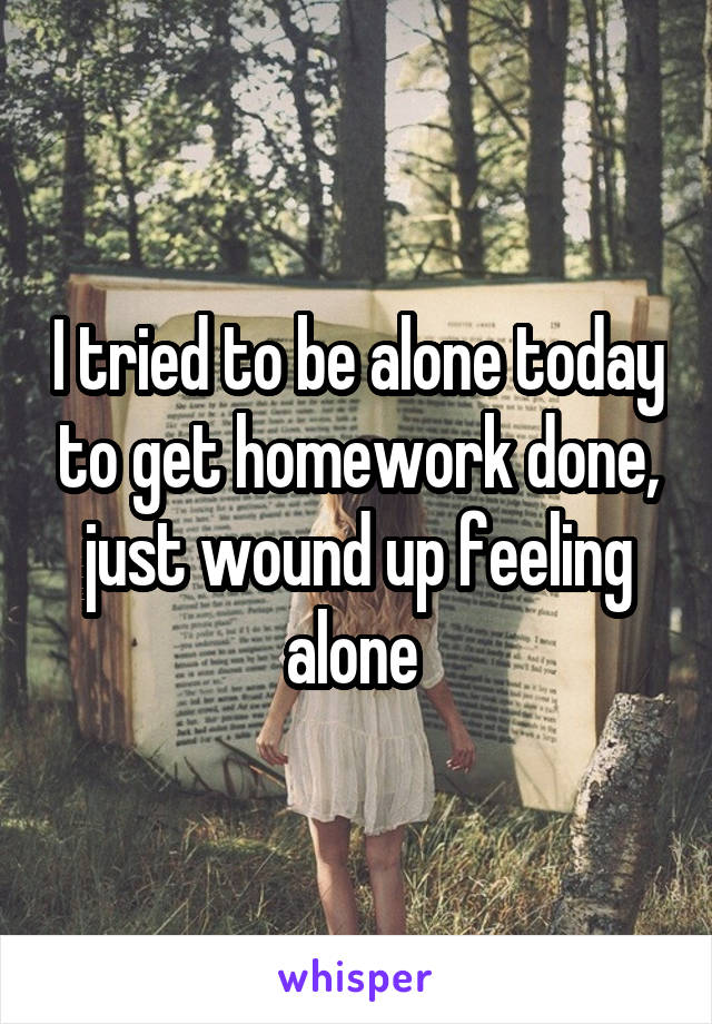 I tried to be alone today to get homework done, just wound up feeling alone