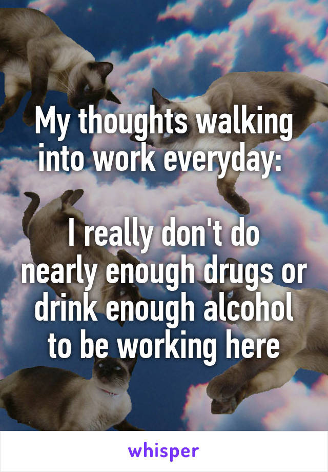 My thoughts walking into work everyday:   I really don't do nearly enough drugs or drink enough alcohol to be working here