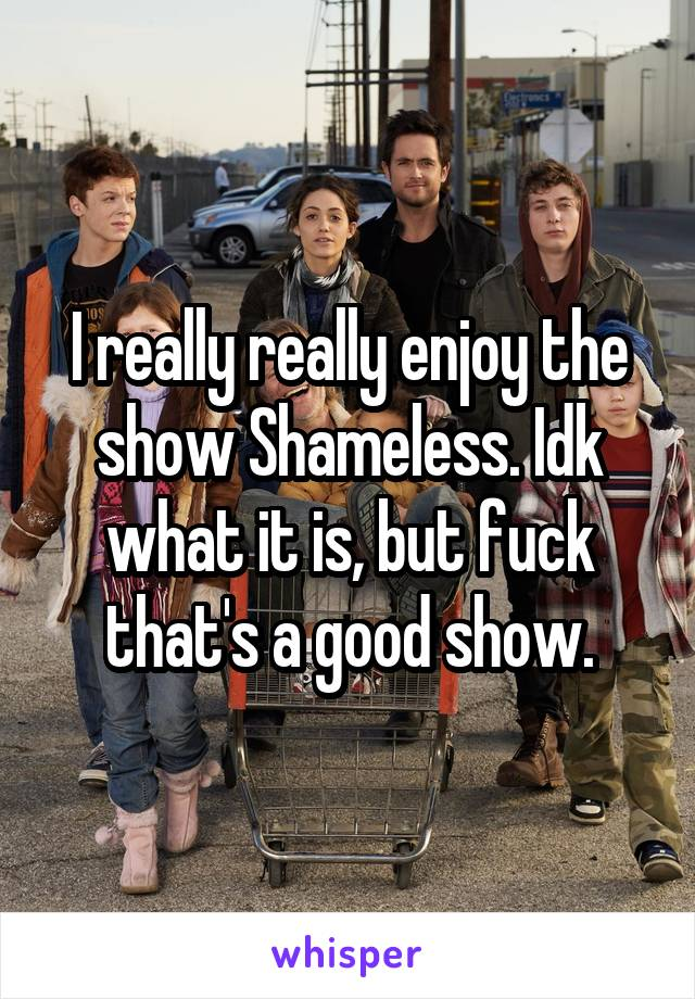 I really really enjoy the show Shameless. Idk what it is, but fuck that's a good show.