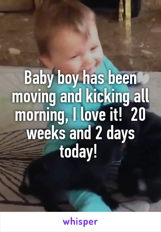 Baby boy has been moving and kicking all morning, I love it!  20 weeks and 2 days today!