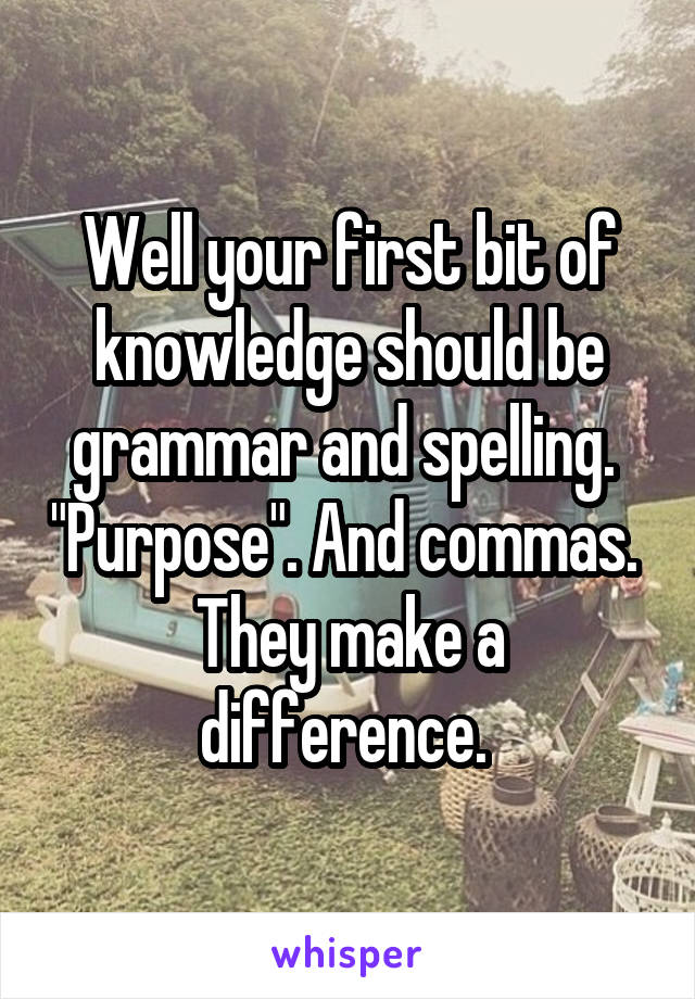 """Well your first bit of knowledge should be grammar and spelling.  """"Purpose"""". And commas.  They make a difference."""
