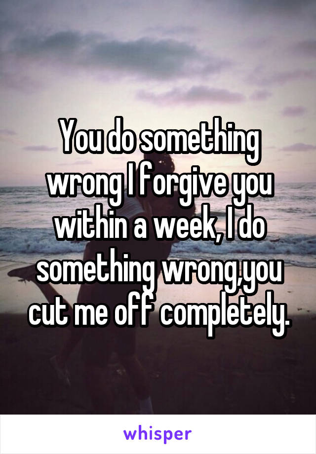 You do something wrong I forgive you within a week, I do something wrong,you cut me off completely.