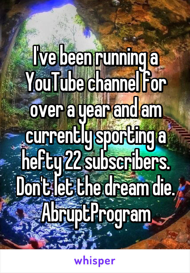 I've been running a YouTube channel for over a year and am currently sporting a hefty 22 subscribers. Don't let the dream die. AbruptProgram